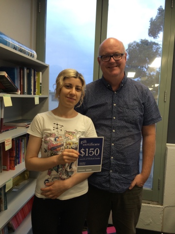 Irini Vasilakakos with Professor Michael Leach, Head of Department. Past winners include Daniel Nilo (2014) and Sophie Breheney (2013).